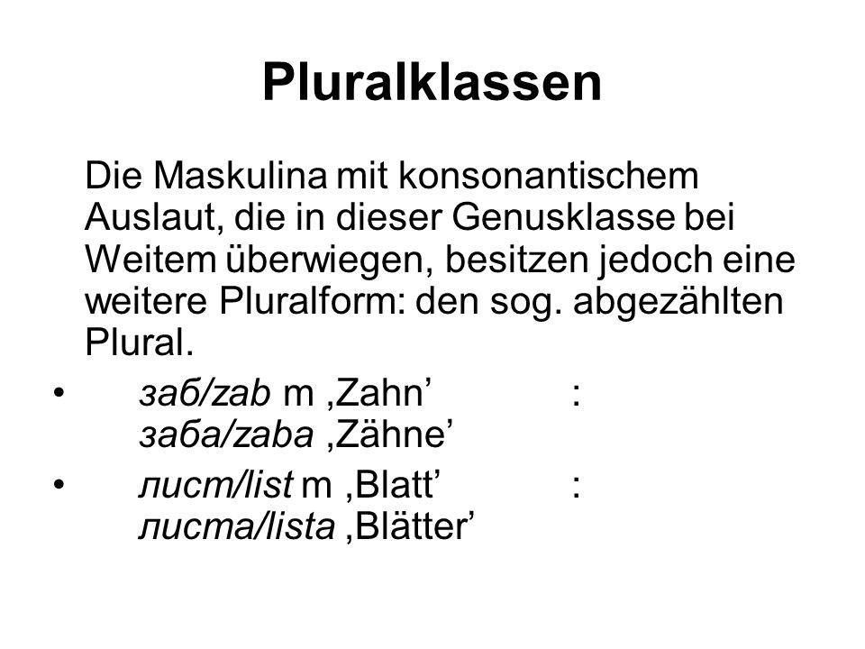 Pluralklassen Die Maskulina mit konsonantischem Auslaut, die in dieser Genusklasse bei Weitem überwiegen, besitzen jedoch eine weitere Pluralform: den