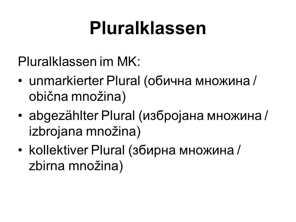 Pluralklassen Pluralklassen im MK: unmarkierter Plural (обична множина / obična množina) abgezählter Plural (избројана множина / izbrojana množina) kollektiver Plural (збирна множина / zbirna množina)