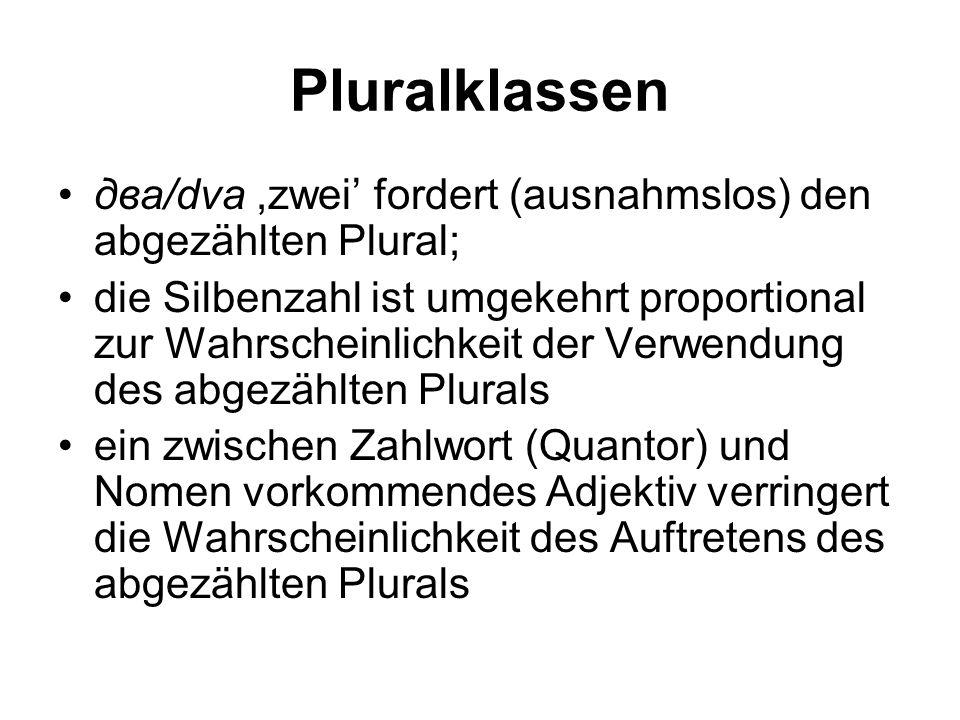 Pluralklassen два/dva,zwei' fordert (ausnahmslos) den abgezählten Plural; die Silbenzahl ist umgekehrt proportional zur Wahrscheinlichkeit der Verwendung des abgezählten Plurals ein zwischen Zahlwort (Quantor) und Nomen vorkommendes Adjektiv verringert die Wahrscheinlichkeit des Auftretens des abgezählten Plurals