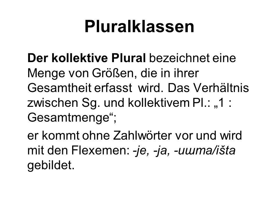 Pluralklassen Der kollektive Plural bezeichnet eine Menge von Größen, die in ihrer Gesamtheit erfasst wird. Das Verhältnis zwischen Sg. und kollektive