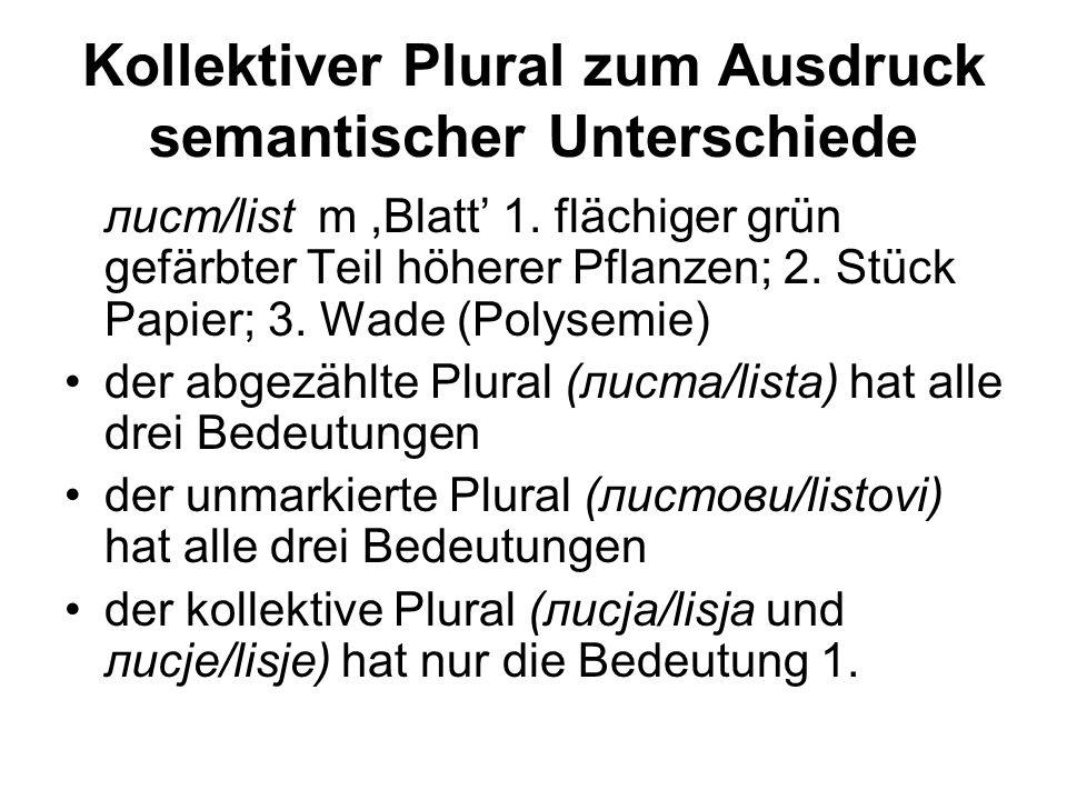 Kollektiver Plural zum Ausdruck semantischer Unterschiede лист/list m,Blatt' 1. flächiger grün gefärbter Teil höherer Pflanzen; 2. Stück Papier; 3. Wa