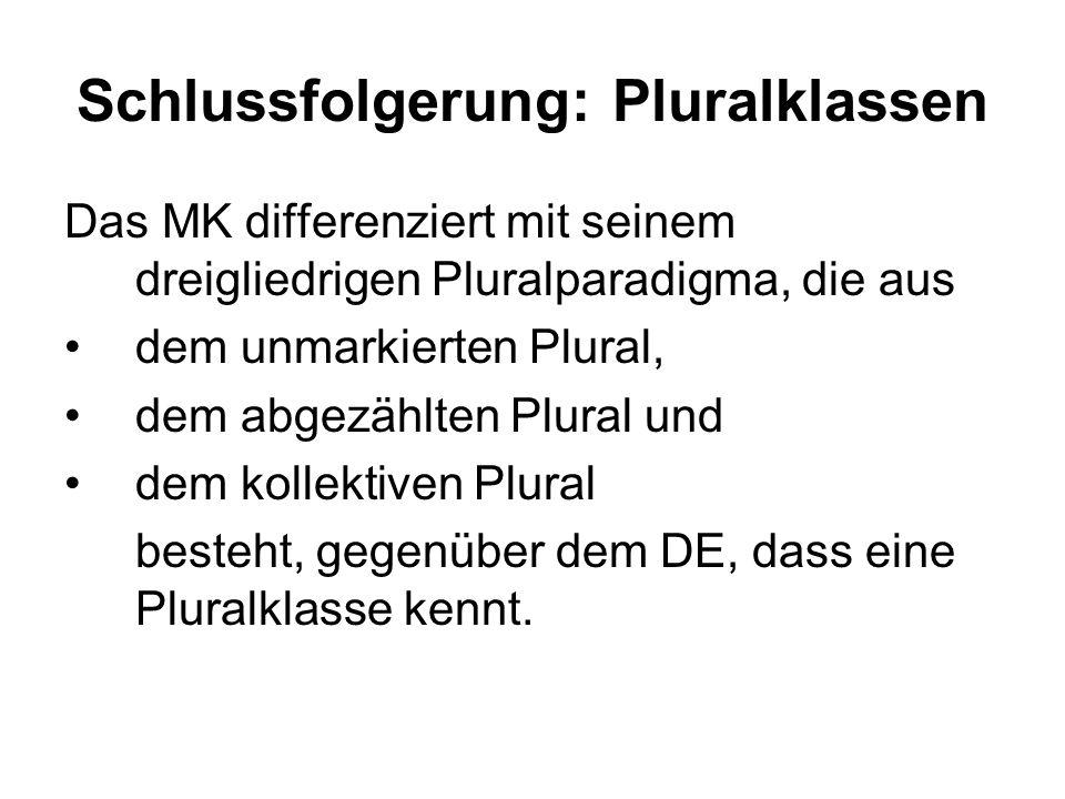 Schlussfolgerung: Pluralklassen Das MK differenziert mit seinem dreigliedrigen Pluralparadigma, die aus dem unmarkierten Plural, dem abgezählten Plural und dem kollektiven Plural besteht, gegenüber dem DE, dass eine Pluralklasse kennt.