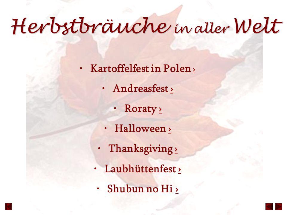 Herbstbräuche in aller Welt Kartoffelfest in Polen › › Andreasfest ›› Roraty ›› Halloween ›› Thanksgiving ›› Laubhüttenfest ›› Shubun no Hi ››