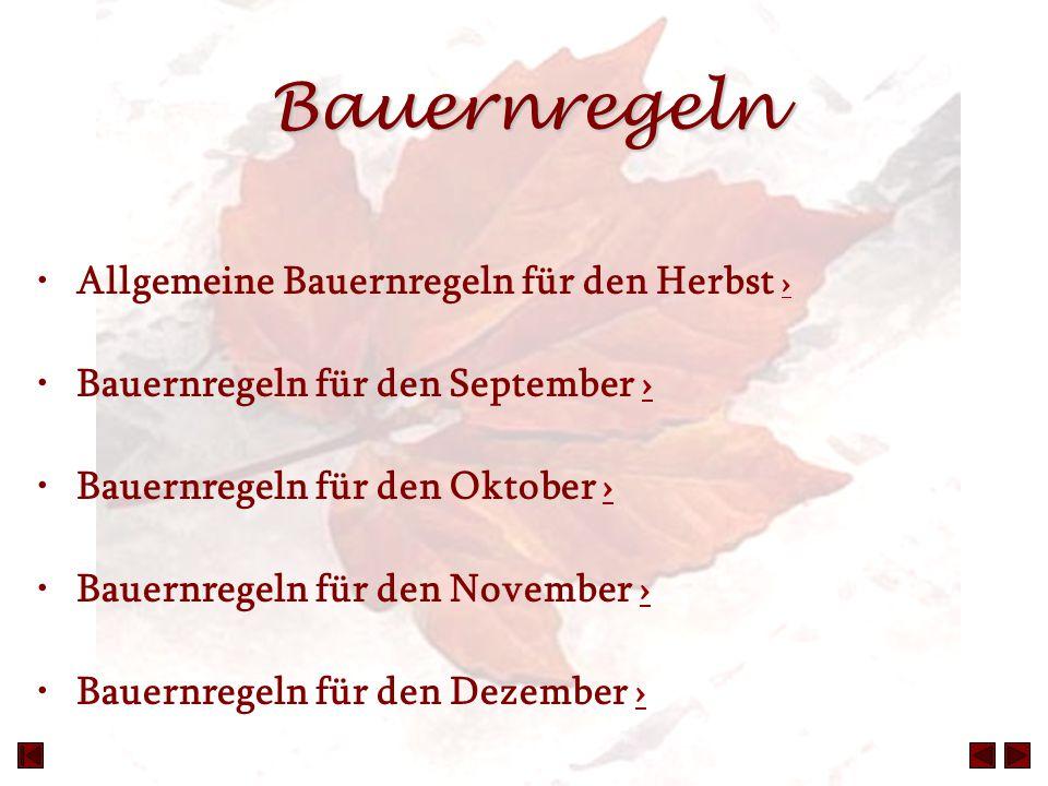 Bauernregeln Allgemeine Bauernregeln für den Herbst › › Bauernregeln für den September ›› Bauernregeln für den Oktober ›› Bauernregeln für den Novembe