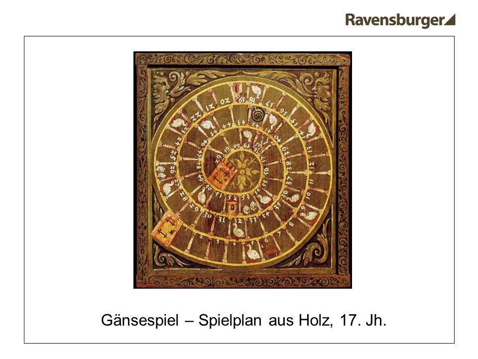 Gänsespiel – Spielplan aus Holz, 17. Jh.