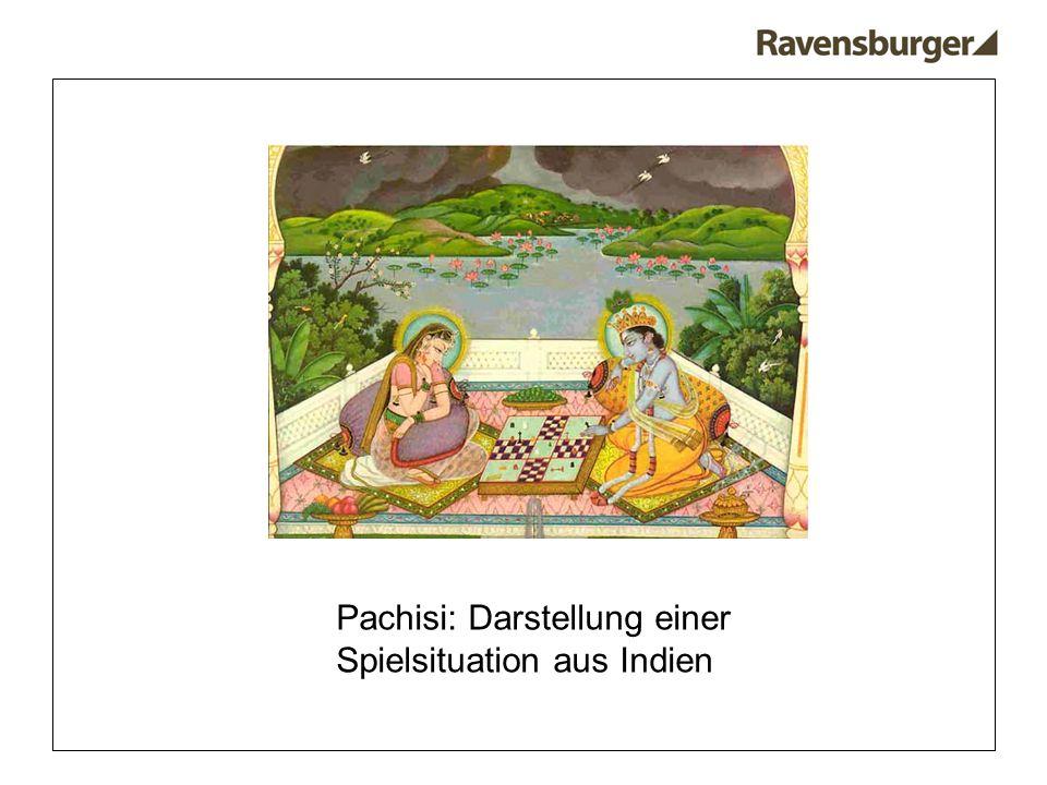 Pachisi: Darstellung einer Spielsituation aus Indien