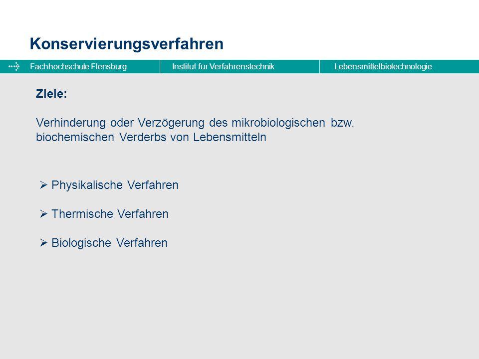 Fachhochschule FlensburgInstitut für VerfahrenstechnikLebensmittelbiotechnologie Konservierungsverfahren  Physikalische Verfahren  Thermische Verfah