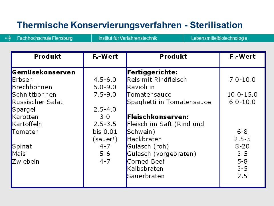 Fachhochschule FlensburgInstitut für VerfahrenstechnikLebensmittelbiotechnologie Thermische Konservierungsverfahren - Sterilisation