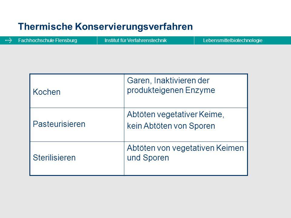 Fachhochschule FlensburgInstitut für VerfahrenstechnikLebensmittelbiotechnologie Thermische Konservierungsverfahren Kochen Garen, Inaktivieren der pro