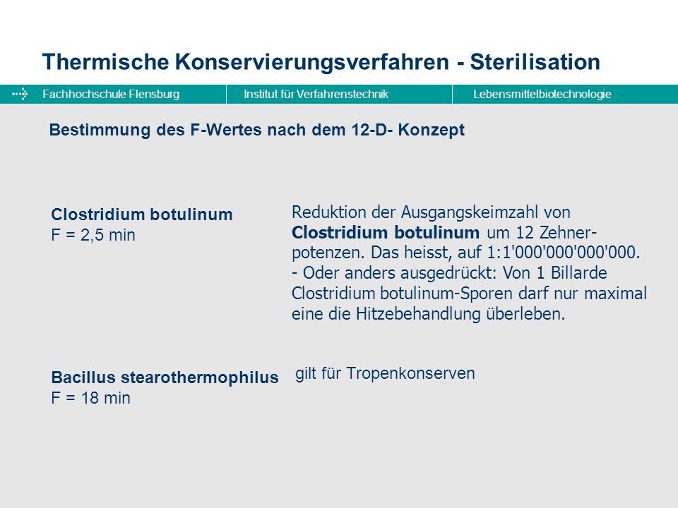 Fachhochschule FlensburgInstitut für VerfahrenstechnikLebensmittelbiotechnologie Thermische Konservierungsverfahren - Sterilisation Bestimmung des F-W