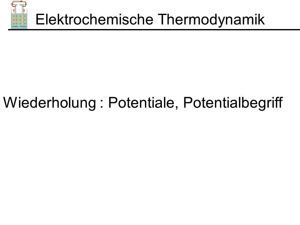 Nernstsche Gleichung Wenn zwei Phasen sich berühren ( Metall/Elektrolyt) gilt: Phase IPhase II In Analogie zur chemischen TD