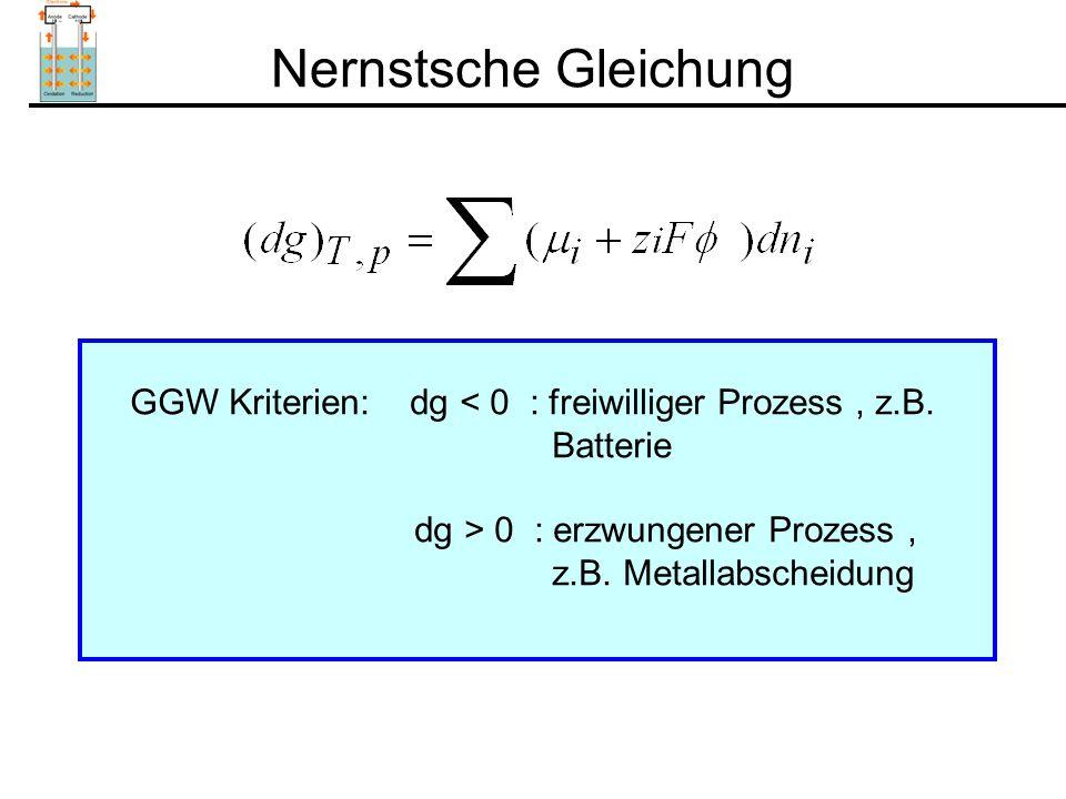 Nernstsche Gleichung GGW Kriterien: dg < 0 : freiwilliger Prozess, z.B.