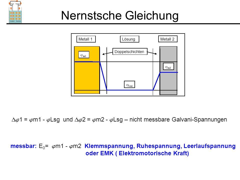 Nernstsche Gleichung  1 =  m1 -  Lsg und  2 =  m2 -  Lsg – nicht messbare Galvani-Spannungen messbar: E 0 =  m1 -  m2 Klemmspannung, Ruhespannung, Leerlaufspannung oder EMK ( Elektromotorische Kraft)