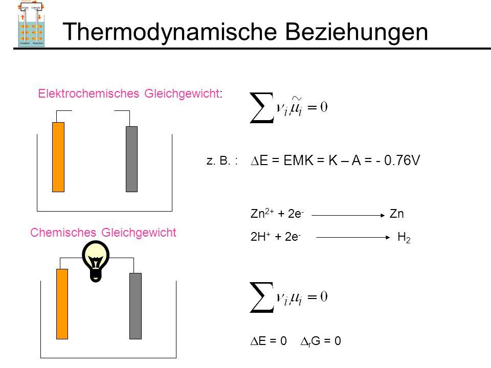 Thermodynamische Beziehungen Elektrochemisches Gleichgewicht:  E = EMK = K – A = - 0.76V z.