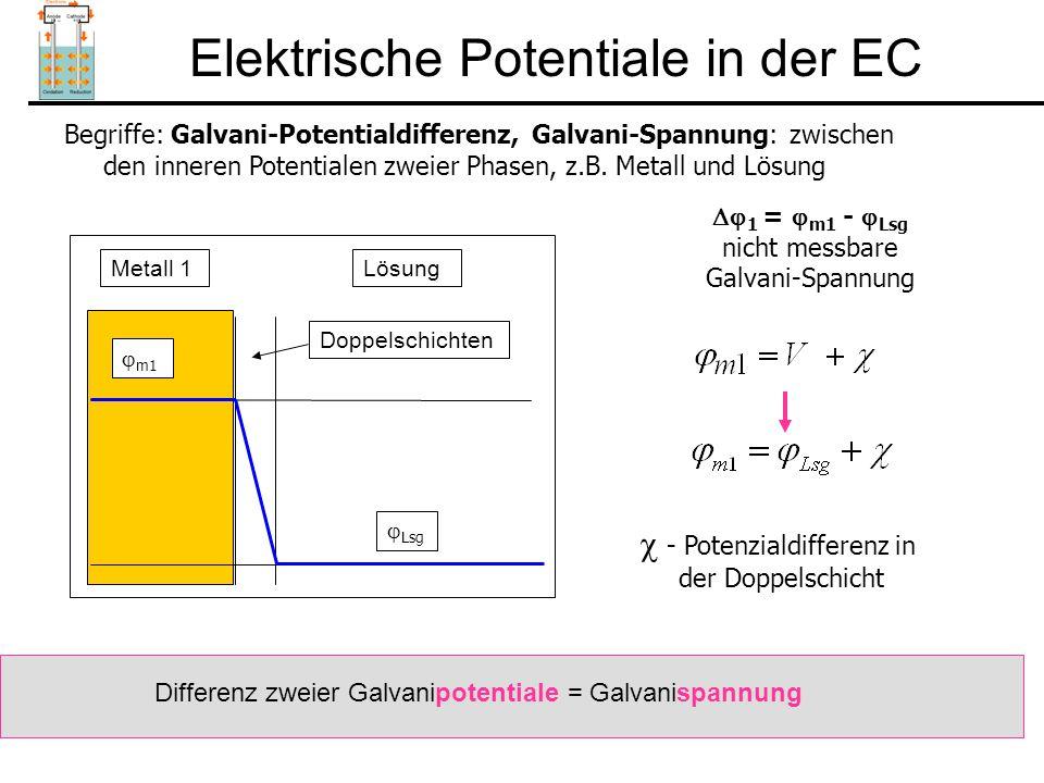 Elektrische Potentiale in der EC Elektrochemische Zelle: Besteht aus mindestens zwei Grenzflächen!.