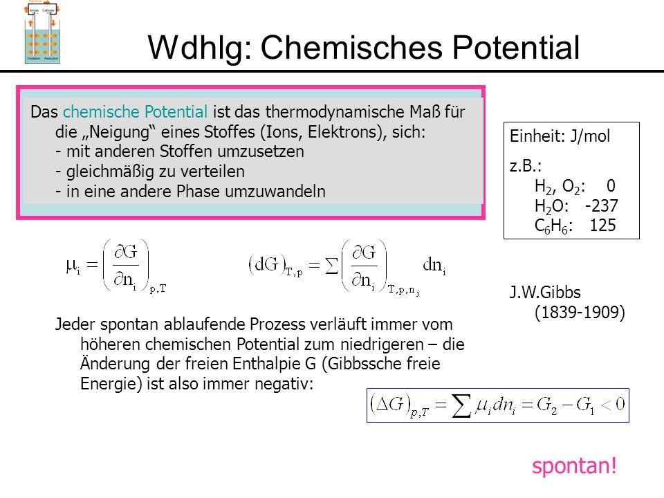 """Wdhlg: Chemisches Potential Das chemische Potential ist das thermodynamische Maß für die """"Neigung eines Stoffes (Ions, Elektrons), sich: - mit anderen Stoffen umzusetzen - gleichmäßig zu verteilen - in eine andere Phase umzuwandeln Einheit: J/mol z.B.: H 2, O 2 : 0 H 2 O: -237 C 6 H 6 : 125 Jeder spontan ablaufende Prozess verläuft immer vom höheren chemischen Potential zum niedrigeren – die Änderung der freien Enthalpie G (Gibbssche freie Energie) ist also immer negativ: J.W.Gibbs (1839-1909) spontan!"""