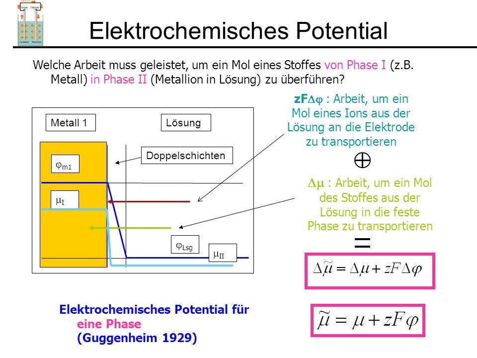 Elektrochemisches Potential zF  : Arbeit, um ein Mol eines Ions aus der Lösung an die Elektrode zu transportieren Welche Arbeit muss geleistet, um ein Mol eines Stoffes von Phase I (z.B.