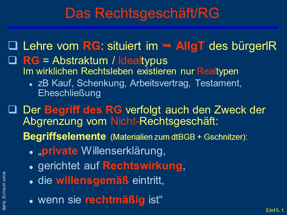 """Einf 5- 1 Barta: Zivilrecht online Das Rechtsgeschäft/RG qLehre vom RG: situiert im  AllgT des bürgerlR qRG = Abstraktum / Idealtypus Im wirklichen Rechtsleben existieren nur Realtypen l zB Kauf, Schenkung, Arbeitsvertrag, Testament, Eheschließung qDer Begriff des RG verfolgt auch den Zweck der Abgrenzung vom Nicht-Rechtsgeschäft: Begriffselemente (Materialien zum dtBGB + Gschnitzer): l """"private Willenserklärung, l gerichtet auf Rechtswirkung, l die willensgemäß eintritt, l wenn sie rechtmäßig ist"""