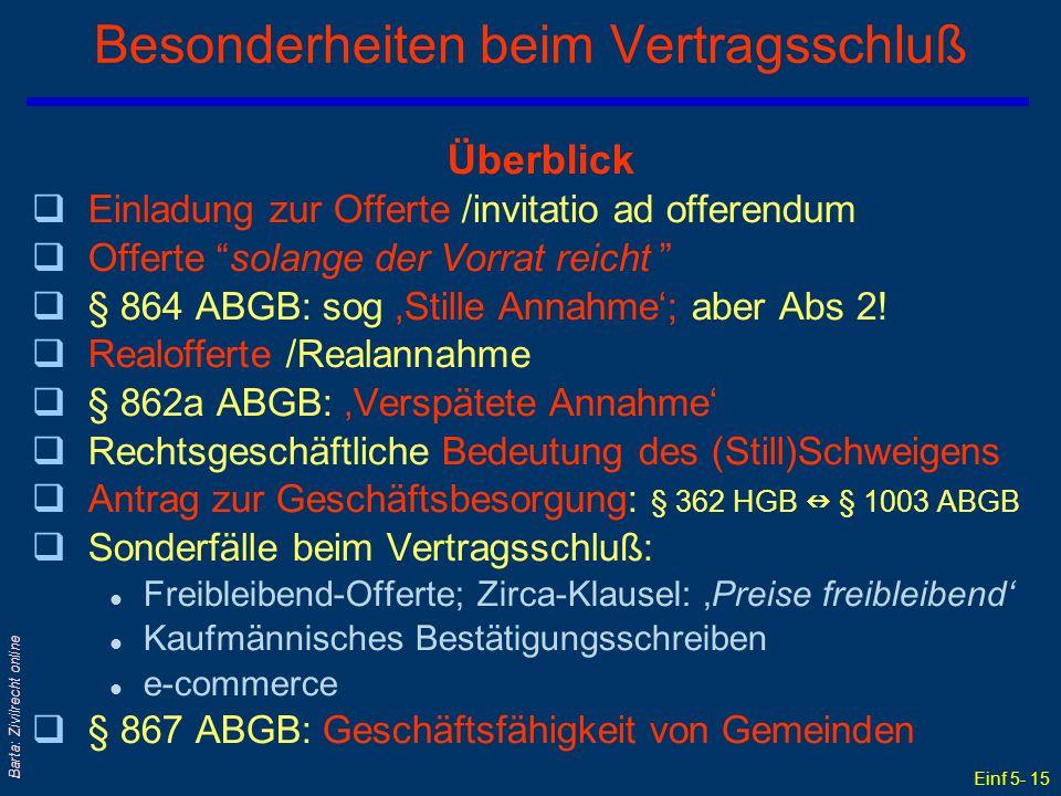 """Einf 5- 15 Barta: Zivilrecht online Besonderheiten beim Vertragsschluß Überblick qEinladung zur Offerte /invitatio ad offerendum qOfferte """"solange der"""