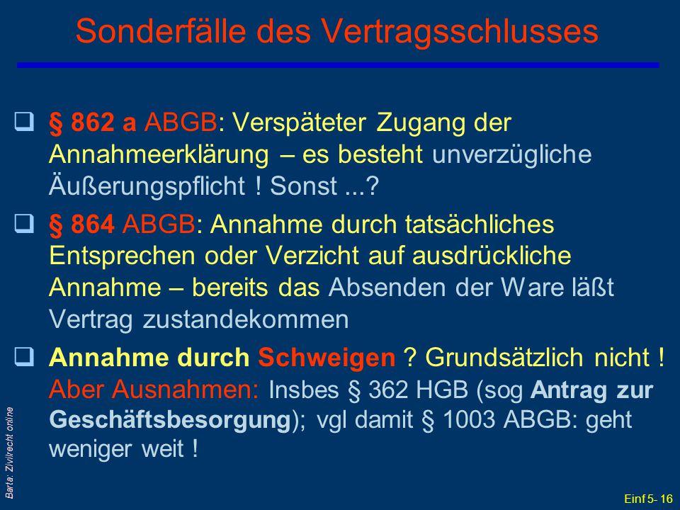 Einf 5- 16 Barta: Zivilrecht online Sonderfälle des Vertragsschlusses q§ 862 a ABGB: Verspäteter Zugang der Annahmeerklärung – es besteht unverzüglich