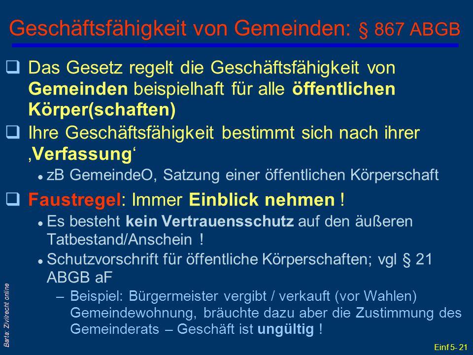 Einf 5- 21 Barta: Zivilrecht online Geschäftsfähigkeit von Gemeinden: § 867 ABGB qDas Gesetz regelt die Geschäftsfähigkeit von Gemeinden beispielhaft
