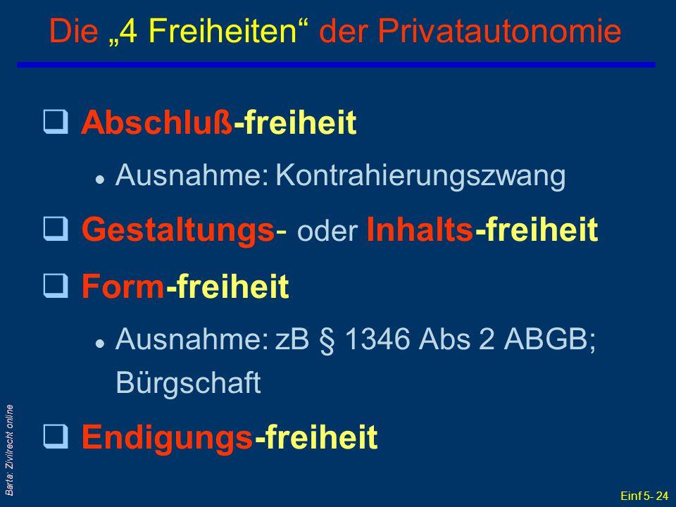 """Einf 5- 24 Barta: Zivilrecht online Die """"4 Freiheiten"""" der Privatautonomie qAbschluß-freiheit l Ausnahme: Kontrahierungszwang qGestaltungs- oder Inhal"""