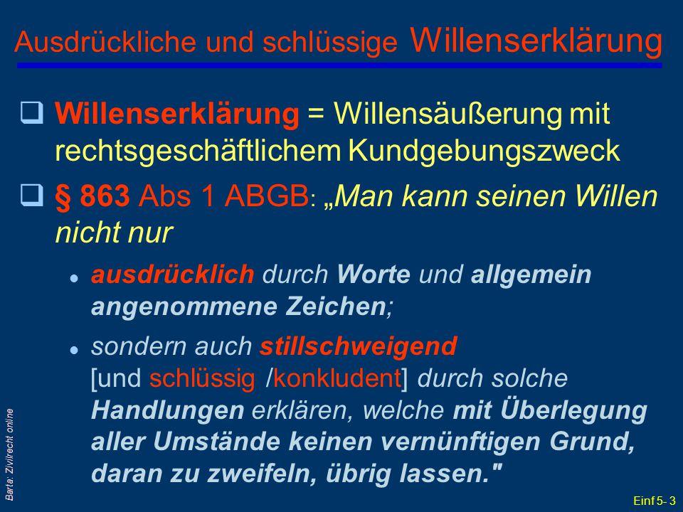 Einf 5- 14 Barta: Zivilrecht online Worin liegen: Antrag & Annahme .