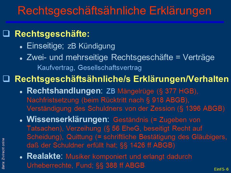 Einf 5- 6 Barta: Zivilrecht online Rechtsgeschäftsähnliche Erklärungen qRechtsgeschäfte: l Einseitige; zB Kündigung l Zwei- und mehrseitige Rechtsgesc