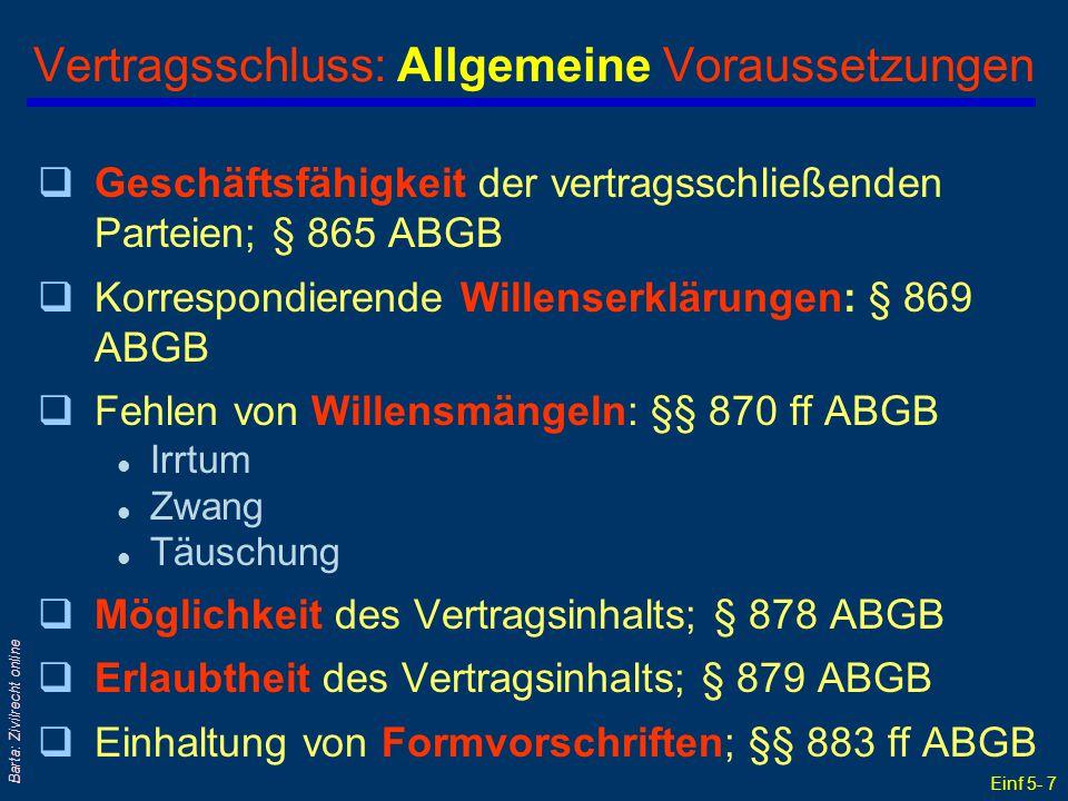 Einf 5- 7 Barta: Zivilrecht online Vertragsschluss: Allgemeine Voraussetzungen qGeschäftsfähigkeit der vertragsschließenden Parteien; § 865 ABGB qKorr