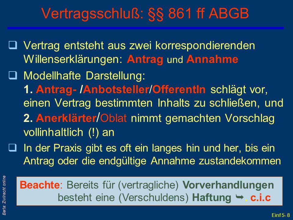 Einf 5- 8 Barta: Zivilrecht online Vertragsschluß: §§ 861 ff ABGB qVertrag entsteht aus zwei korrespondierenden Willenserklärungen: Antrag und Annahme