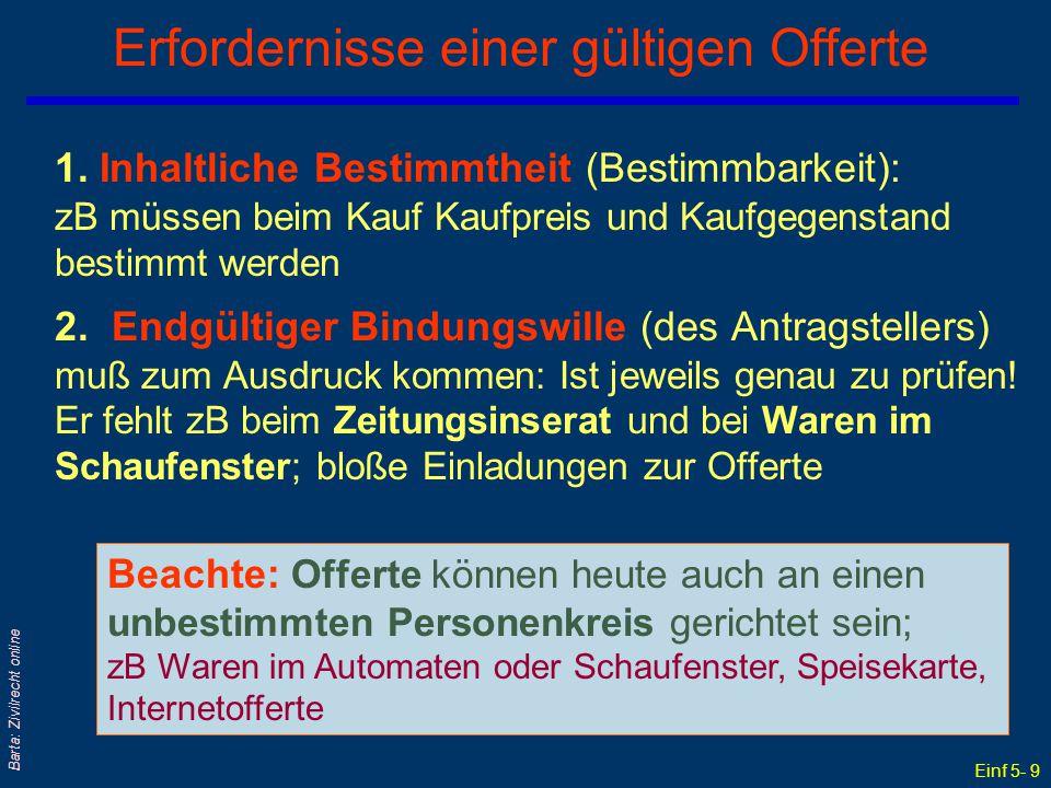 Einf 5- 9 Barta: Zivilrecht online Erfordernisse einer gültigen Offerte 1. Inhaltliche Bestimmtheit (Bestimmbarkeit): zB müssen beim Kauf Kaufpreis un