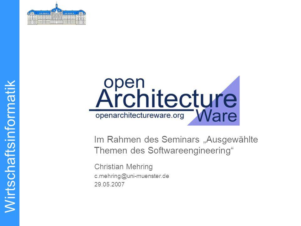"""Wirtschaftsinformatik Christian Mehring c.mehring@uni-muenster.de 29.05.2007 Im Rahmen des Seminars """"Ausgewählte Themen des Softwareengineering"""