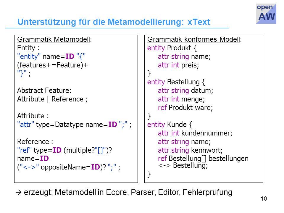 10 Unterstützung für die Metamodellierung: xText Grammatik Metamodell: Entity : entity name=ID { (features+=Feature)+ } ; Abstract Feature: Attribute | Reference ; Attribute : attr type=Datatype name=ID ; ; Reference : ref type=ID (multiple [] ).