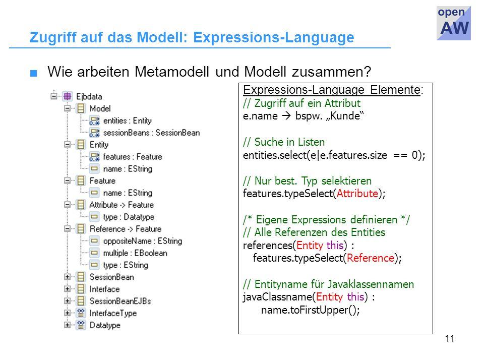 11 Zugriff auf das Modell: Expressions-Language ■Wie arbeiten Metamodell und Modell zusammen.