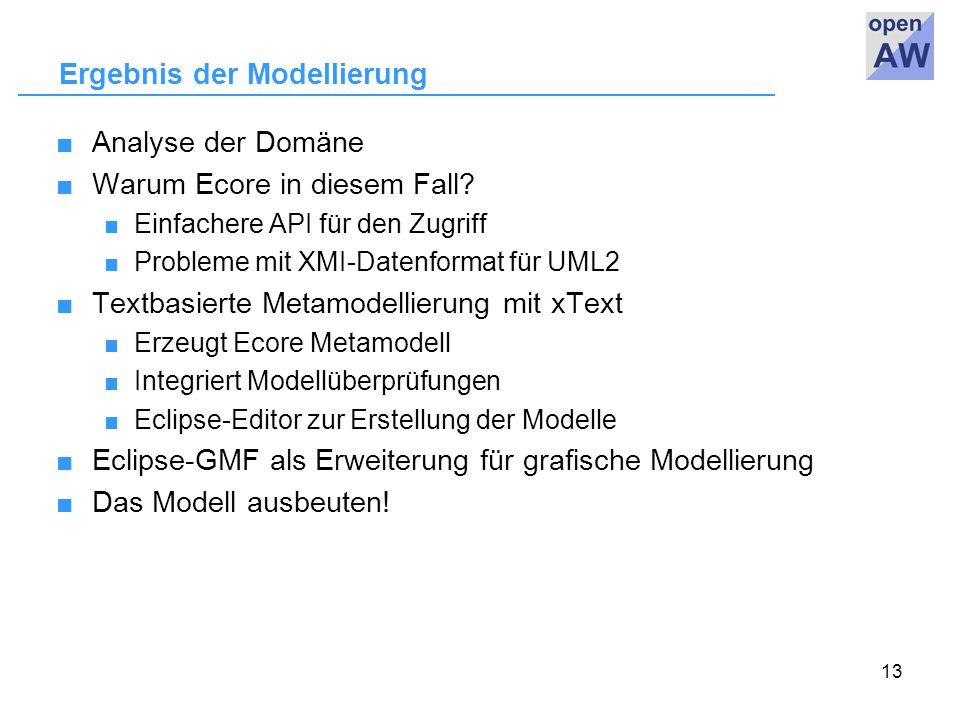 13 Ergebnis der Modellierung ■Analyse der Domäne ■Warum Ecore in diesem Fall.