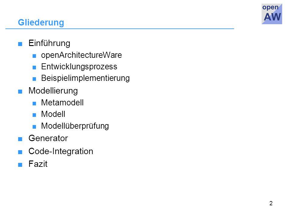 2 Gliederung ■Einführung ■ openArchitectureWare ■ Entwicklungsprozess ■ Beispielimplementierung ■Modellierung ■ Metamodell ■ Modell ■ Modellüberprüfung ■Generator ■Code-Integration ■Fazit