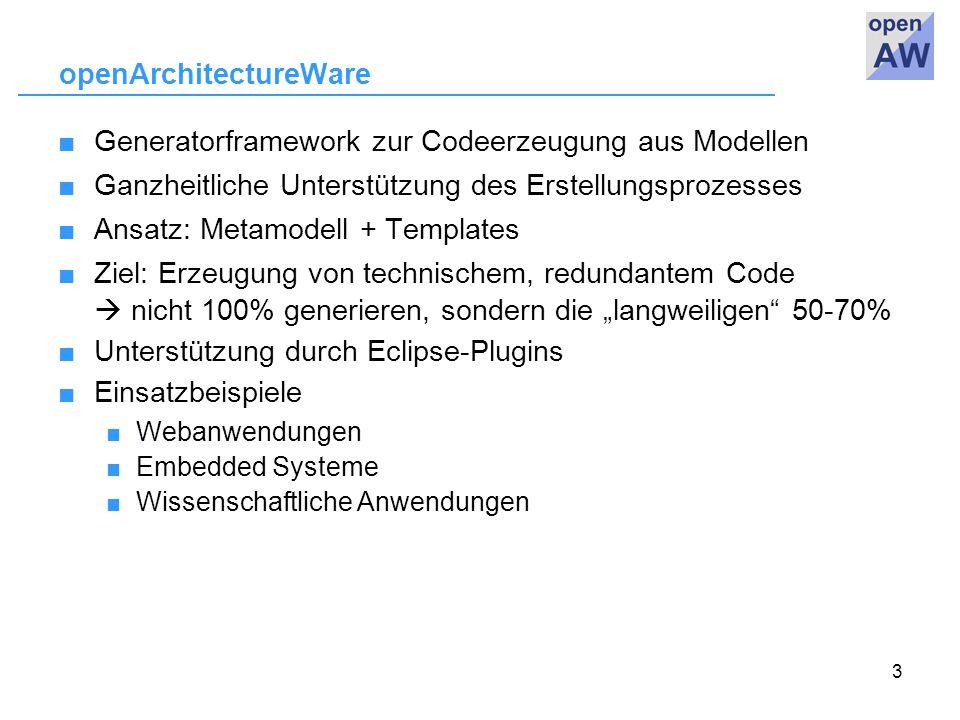 """3 openArchitectureWare ■Generatorframework zur Codeerzeugung aus Modellen ■Ganzheitliche Unterstützung des Erstellungsprozesses ■Ansatz: Metamodell + Templates ■Ziel: Erzeugung von technischem, redundantem Code  nicht 100% generieren, sondern die """"langweiligen 50-70% ■Unterstützung durch Eclipse-Plugins ■Einsatzbeispiele ■ Webanwendungen ■ Embedded Systeme ■ Wissenschaftliche Anwendungen"""
