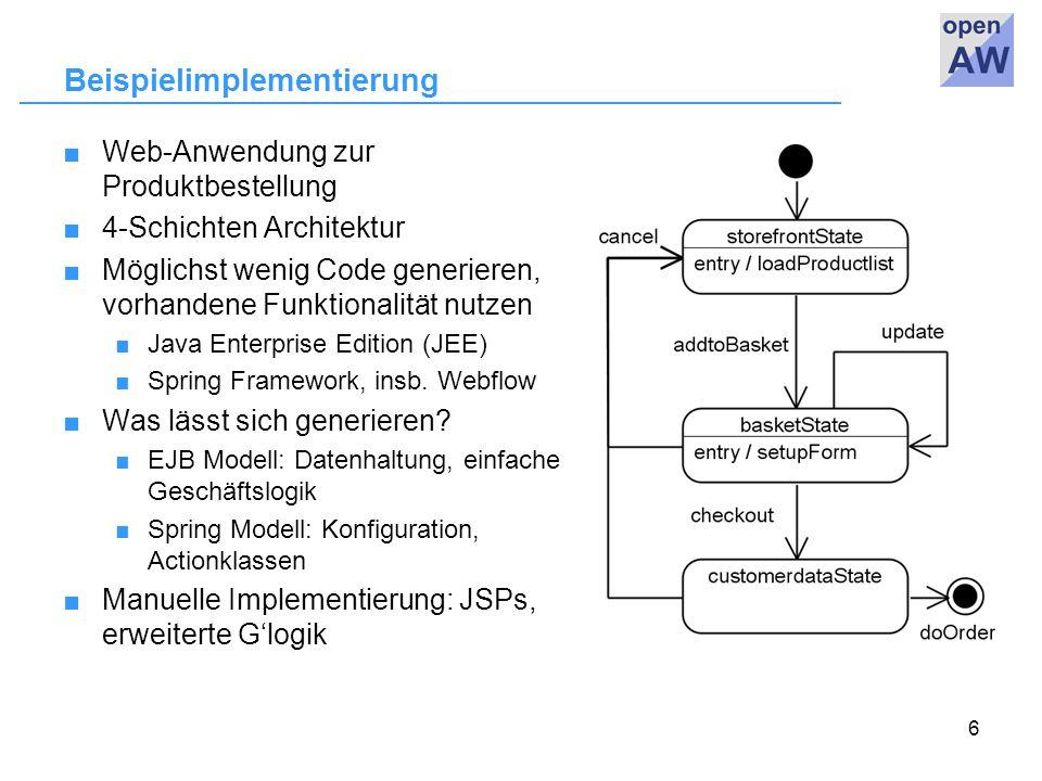 6 Beispielimplementierung ■Web-Anwendung zur Produktbestellung ■4-Schichten Architektur ■Möglichst wenig Code generieren, vorhandene Funktionalität nutzen ■ Java Enterprise Edition (JEE) ■ Spring Framework, insb.