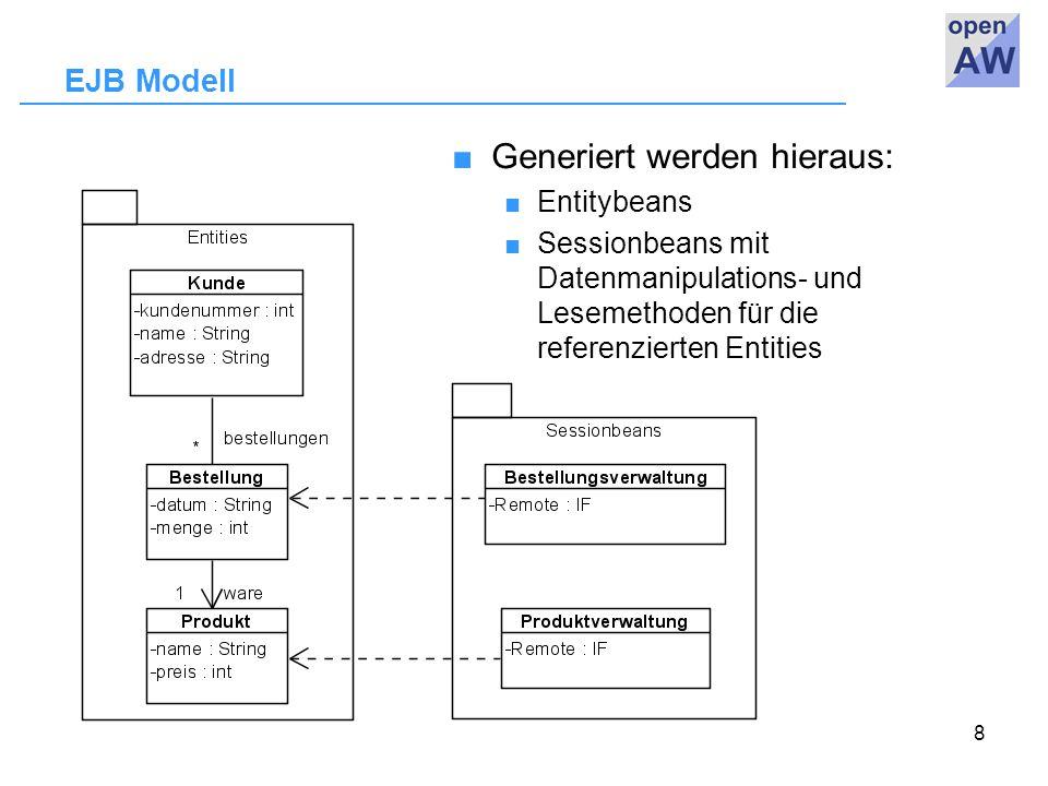 8 EJB Modell ■Generiert werden hieraus: ■ Entitybeans ■ Sessionbeans mit Datenmanipulations- und Lesemethoden für die referenzierten Entities