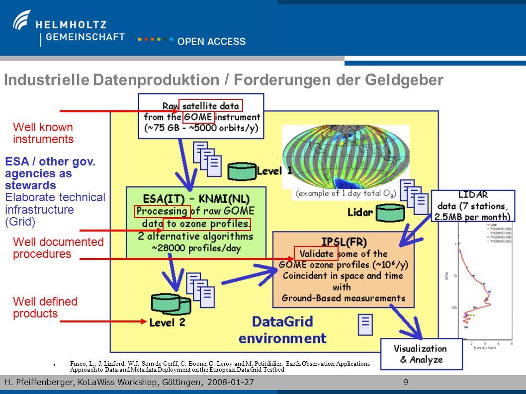 H. Pfeiffenberger, KoLaWiss Workshop, Göttingen, 2008-01-279 Industrielle Datenproduktion / Forderungen der Geldgeber Fusco, L., J. Linford, W.J. Som