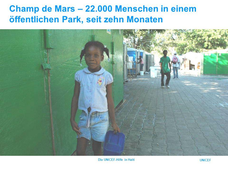 UNICEF Die UNICEF-Hilfe in Haiti Champ de Mars – 22.000 Menschen in einem öffentlichen Park, seit zehn Monaten