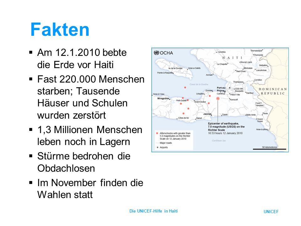 UNICEF Die UNICEF-Hilfe in Haiti Aktuelle Lage  Trotz der relativ stabilen Lage in den Lagern bleibt ein hohes Seuchenrisiko  Im Oktober treten plötzlich Fälle von Cholera durch verseuchtes Wasser aus dem Artibonite-Fluss auf  Bisher über 6.740 Fälle und 442 Tote  Lage verschärft sich durch tropische Stürme
