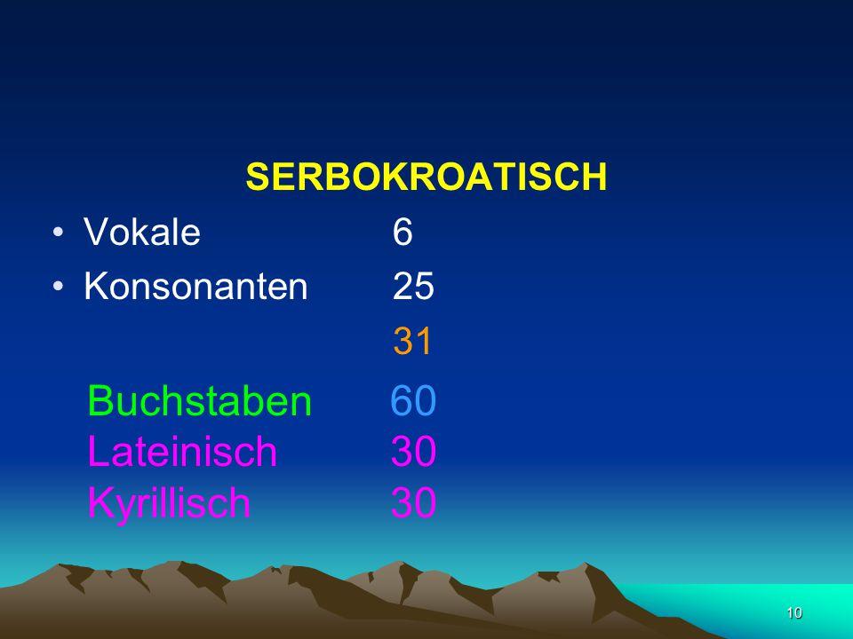 10 SERBOKROATISCH Vokale 6 Konsonanten 25 31 Buchstaben 60 Lateinisch 30 Kyrillisch 30