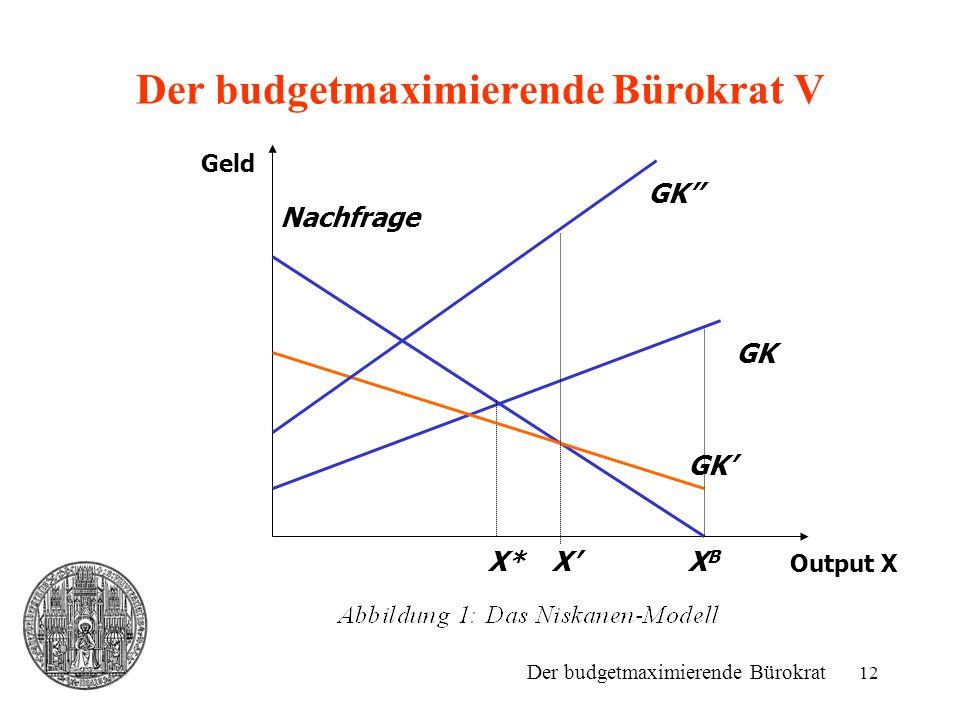 12 Der budgetmaximierende Bürokrat V Output X Geld Nachfrage GK X* GK' X'XBXB GK'' Der budgetmaximierende Bürokrat