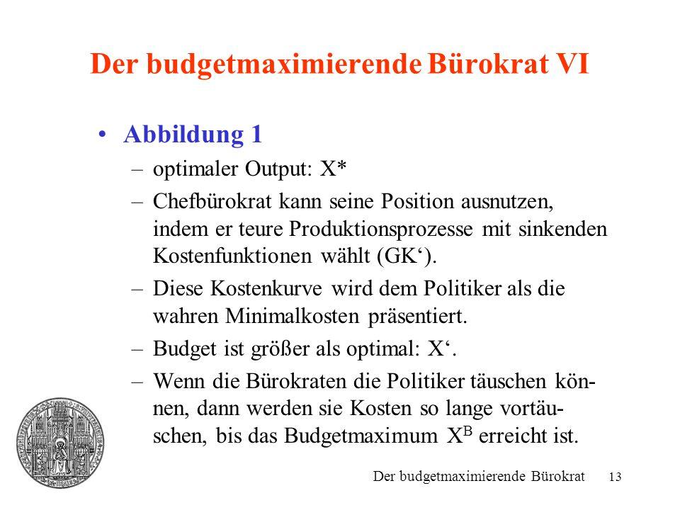 13 Der budgetmaximierende Bürokrat VI Abbildung 1 –optimaler Output: X* –Chefbürokrat kann seine Position ausnutzen, indem er teure Produktionsprozess
