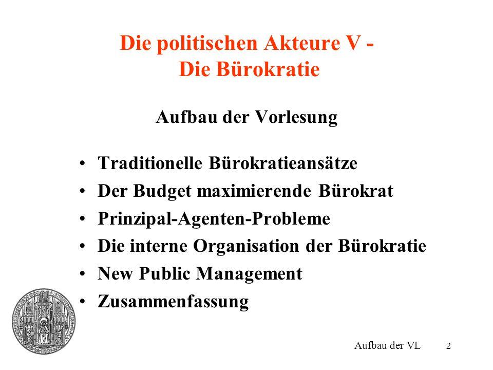 23 Prinzipal-Agenten-Probleme IV Politiker, Interessengruppen und Bürokratie –Wähler als eigentliche Prinzipale –Sie wählen einen Politiker, der an die Bürokratie delegiert.