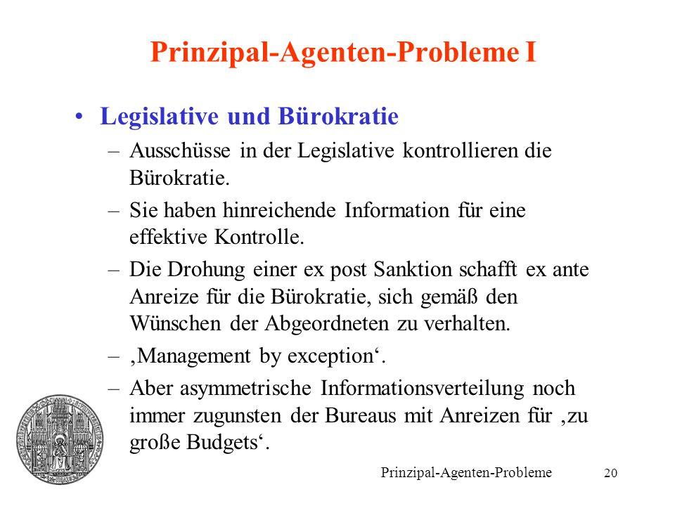20 Prinzipal-Agenten-Probleme I Legislative und Bürokratie –Ausschüsse in der Legislative kontrollieren die Bürokratie. –Sie haben hinreichende Inform