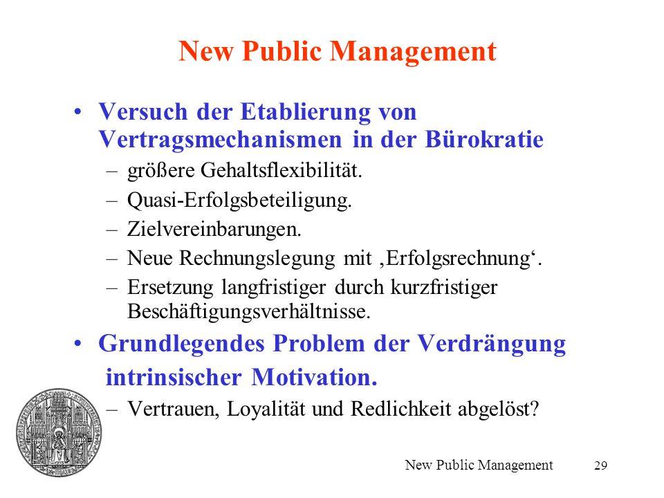 29 New Public Management Versuch der Etablierung von Vertragsmechanismen in der Bürokratie –größere Gehaltsflexibilität. –Quasi-Erfolgsbeteiligung. –Z