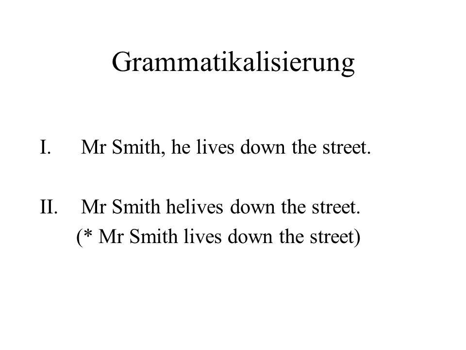 Grammatikalisierung I.Mr Smith, he lives down the street. II.Mr Smith helives down the street. (* Mr Smith lives down the street)