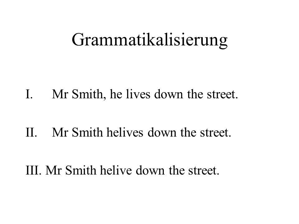 Grammatikalisierung I.Mr Smith, he lives down the street. II.Mr Smith helives down the street. III. Mr Smith helive down the street.